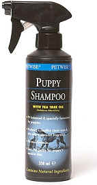 Spray-on puppy shampoo